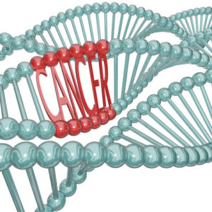 The word Cancer hidden in a strand of DNA